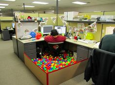 Office Cubicle Decoration in Great Sensation : Brthday Party Office Cubicle Decoration Ideas Big Man On Office Chair