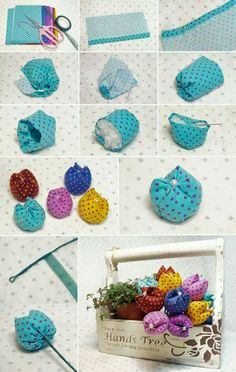 Inspiriert von Flores de Fuxico mit passo a passo! Felt Crafts, Easter Crafts, Fabric Crafts, Sewing Crafts, Diy And Crafts, Sewing Projects, Decor Crafts, Diy Projects, Felt Flowers