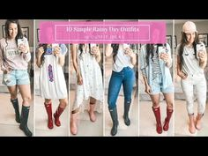 Rainy season is here, making it hard to figure out what to wear. I have put together 10 simple and easy rainy day outfits with your rain boots. Rainy Day Outfit For Spring, Rainy Day Fashion, Outfit Of The Day, Paper Bag Shorts, Raining Cats And Dogs, Rainy Season, Rainy Days, Hunter Boots, Day Dresses