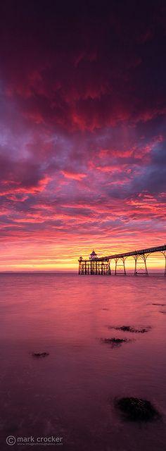 'Red rain' Clevendon Pier, Somerset, England - by Mark Crocker