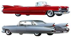 1959 Cadillac Series 62 convertible and Eldorado Seville - Plan59 :: Classic Car Art :: Vintage Ads :: 1959 Cadillac
