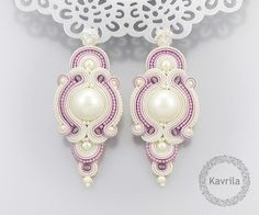 wedding earrings soutache exlucive rose