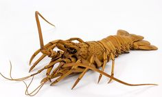 An amazing articulated wooden carving of a spiny lobster. An example of jizai okimono, by Ryosuke Ohtake.