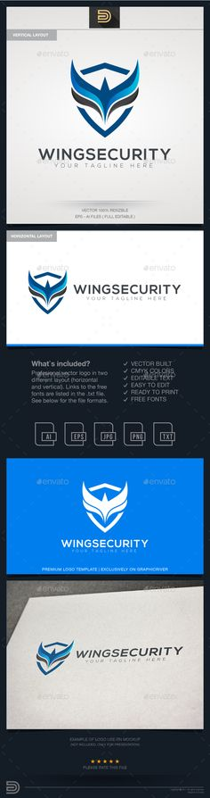 Wings Security Logo - Objects #Logo Templates Download here: https://graphicriver.net/item/wings-security-logo/20375714?ref=alena994