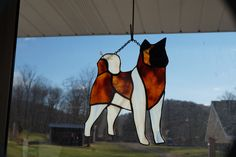 Stained Glass Akita Dog by StainedGlassbyBetty on Etsy https://www.etsy.com/listing/257540703/stained-glass-akita-dog