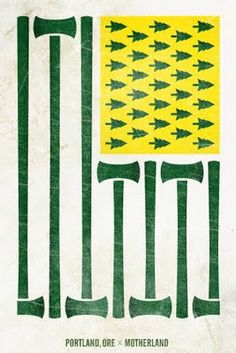 unofficial flag for Portland Timbers (soccer) made by fan designer in NYC.