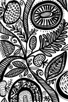 susan black design, sketchbook, black and white, folk art, abstract florals, botanical, surface design, pattern, art licensing, painting with ink, ink, http://susanblackdesign.com