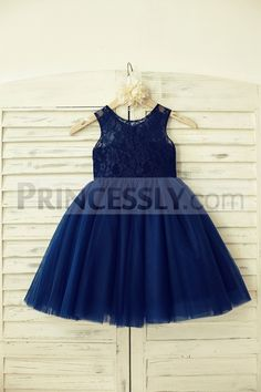 Navy Blue Lace Tulle Flower Girl Dress