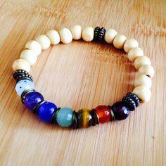 Bracelet made of wood beads named 7 chakras.