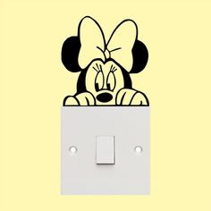 Wall paint designs - Minnie mouse Light Switch sticker cute funny wall art vinyl decal sticker Be Creative! Position your individual sticker wherever you like Decals is covered with transfer tape for easy applicatio Simple Wall Paintings, Creative Wall Painting, Wall Painting Decor, Diy Painting, Wall Art Designs, Paint Designs, Wall Design, Design Art, Wall Sticker Design