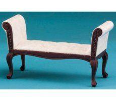 $12.99 Fabric Upholstered Settee - Mahogany