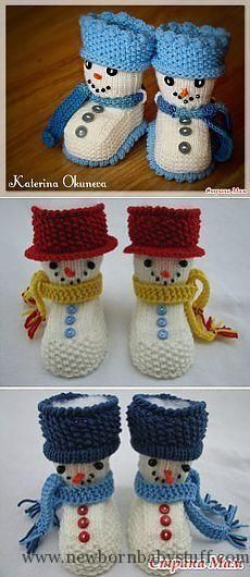 Ideas For Crochet Doll Boots Christmas Gifts Knit Baby Dress, Crochet Baby Booties, Baby Blanket Crochet, Crochet Shoes, Crochet Slippers, Baby Boy Knitting Patterns, Crochet Patterns, Crochet Snowman, Baby Slippers