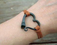 Horseshoe nail bracelet, Hand forged heart bracelet, Hand forged iron, Horse Lover Gift, Horse Shoe Nail, Horse Jewelry, Horse Shoe Bracelet