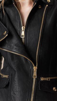 Black Diamond Quilt Detail Leather Biker Jacket - Image 4