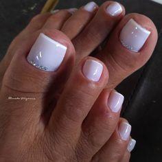 26 Ideas Pedicure White Toenails Wedding Toes For 2019 Pretty Toe Nails, Cute Toe Nails, My Nails, Wedding Toe Nails, Wedding Toes, Wedding Pedicure, Bridal Toe Nails, Toe Nail Color, Toe Nail Art