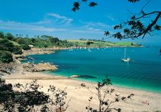 Calm bay and sandy beach near Falmouth on south coast of Cornwall, south west England Devon And Cornwall, Falmouth Cornwall, Mousehole Cornwall, Cornwall Coast, Cornish Beaches, Cornish Coast, Cornwall Beaches, Into The West, British Isles