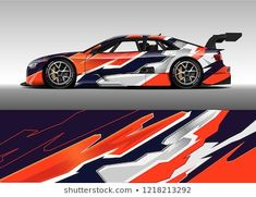 Racing car wrap design vector and vinyl sticker. Graphic abstract stripe racing background kit designs for wrap vehicle, race car, rally, adventure and livery. Pickup Trucks, Vans, Illustrations, Rally Car, Car Wrap, Branding, Car Decals, Graphic, Race Cars