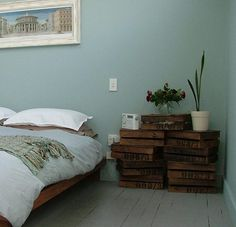 Awesome bedside table! Could even use wood from beer crates