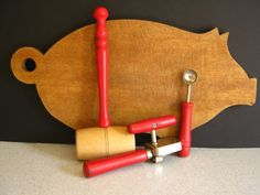 Antique Red Kitchen Tools by RollingHillsVintage on Etsy, $18.50