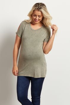 An effortless and stylish top to throw on this season, this cold shoulder maternity top is fun, flirty and the perfect thing for casual, everyday wear! You'll love the feminine shoulder cut out and the beautiful hue. Pair this maternity top with your favorite pair of maternity jeans and chic boots.