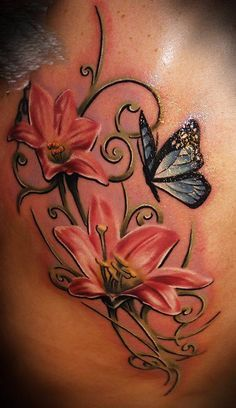 Realistic Butterfly n Lily Flowers Tattoo