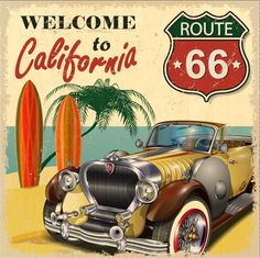 8x8FT Welcome to California Vintage Car Route 66 Sea Palm Tree Custom Photography Studio Backdrops Backgrounds Vinyl 10x10 8x15