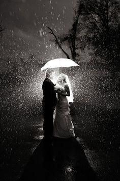 rainy wedding photo