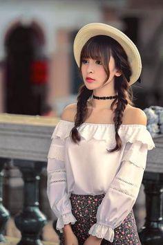 Japanese fashion lace 7 points shirt