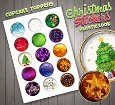 Christmas Cupcake Toppers, Cristal Look, High Quality, Plastic Look, Stickers, Digital Download, Christmas Decor.
