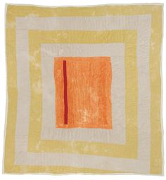 "Gloria Hoppins, ""Housetop""—center medallion, c. 1975, Corduroy, 91 x 88 inches"