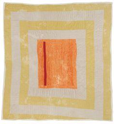 "Gloria Hoppins, ""Housetop""—center medallion, c. 1975, Corduroy, 91 x 88 inches"