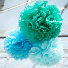 Blue Pom Poms - would look fantastic in a teenager's bedroom!  Shop all Christmas gift ideas for teenagers:  http://potwells.co.uk/collections/tricky-teens