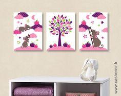 Illustration pour chambre d'enfant bébé affiche poster bébé fille décoration murale souris rose n98 : Chambre d'enfant, de bébé par cashemir