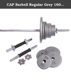 CAP Barbell Regular Grey 160 lb Weight Set. CAP's RSG-160T- 160 lb Weigtht sSet contains 1 x 6' standard bar, 2 x standard dumbbell handles, 6 x 2.5 lb, 6 x 5 lb, 4 x 10 lb, 2 x 25 lb, and 4 spinlock collars. The plates are made of solid cast iron and bars are made of steel. The ideal set for home use. Dumbbell handles and plates can be used for various arm exercises while the 6' bar and plates can be used for overall strenthening and sculpting of all muscle groups. Warning: This product...