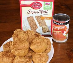 Pumpkin muffins – TWO ingredients! One spice cake mix and one can of pumpkin. Makes 12 muffins. Zucchini Muffins, Muffins Blueberry, Cherry Muffins, Savory Muffins, Apple Muffins, Zucchini Bread, Mini Muffins, All You Need Is, Just In Case