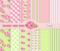 12 Papeles Scrapbook Digital shabby Chic rosa y por AngelinaWorks