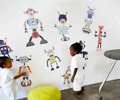 Large Colorful Robot Fabric Wall Decals for Robot-themed Kids Rooms - Unique Eco-friendly Fabric Wall Stickers for Nursery, Toddler Rooms, Day Care Centers - Fabric Wall Murals for Kids Rooms, Bedrooms, Playrooms, Library, Doctor's Office