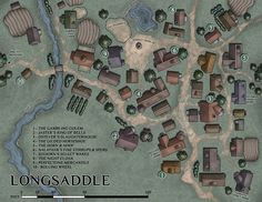 "venatusmaps: ""Was asked to revisit an older location in the Forgotten Realms lexicon: the town of Longsaddle. Fantasy Town, Fantasy World Map, Vintage Maps, Antique Maps, Map Nursery, Nursery Rhymes, Dnd World Map, Map Games, Dungeon Maps"