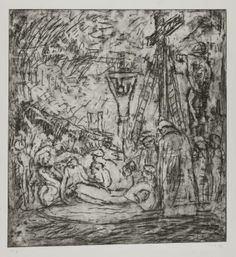 Leon Kossoff From Rembrandt: The Lamentation over the Dead Christ 1990-9 p20329 The Lamentation over the Dead Christ', Leon Kossoff - Tate collection [On paper, print, 1990-9, 20th century post-1945 , School of London , emotions