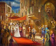 Huppah in Jerusalem    New Painting,Oil on Canvas 120-100 cm by ALEX LEVIN