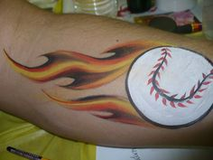 Baseball face painting. Love the flames. Great for the boys.