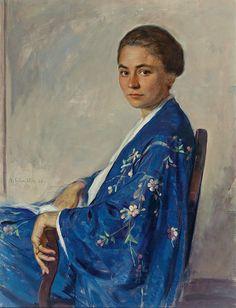 Blue - azul - kimono - quimono - woman - mulher - pintura - painting - Adolf Schmidlin