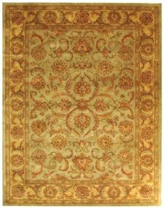 Amazon.com - Safavieh HG811A Heritage Collection Handmade Hand-Spun Wool Area Rug, 9-Feet by 12-Feet, Green and Gold