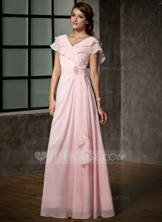 Mother of the Bride Dresses - $139.99 - A-Line/Princess V-neck Floor-Length Chiffon Mother of the Bride Dress With Ruffle Crystal Brooch (008006120) http://jjshouse.com/A-Line-Princess-V-Neck-Floor-Length-Chiffon-Mother-Of-The-Bride-Dress-With-Ruffle-Crystal-Brooch-008006120-g6120