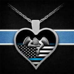 Poignant Angel Weeping over Thin Blue Line Flag.  Click Below for a Closer Look. https://www.gearbubble.com/bluelineangel