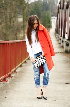 bright coat with casual outfit