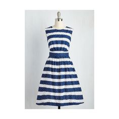 Emily and Fin Nautical Long Sleeveless Fit & Flare Too Much Fun Dress (1,860 MXN) ❤ liked on Polyvore featuring dresses, apparel, blue, fashion dress, long skater skirt, fit and flare dress, long circle skirt, striped dress and blue fit-and-flare dresses
