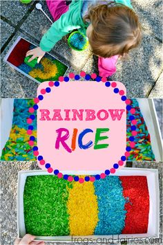 Rainbow Rice Sensory Play - Rainbow rice is a wonderful material for sensory play and it's great for fine motor development too! Frogs-and-Fairies.com