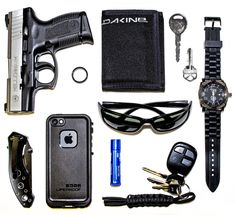 CCW Everyday Carry Submitted By:Q. Anders  Taurus PT140 (Uncle Mikes Left hand holster not shown)  Dakine Velcro Tri-Fold (has pocket for the two spare keys)  Fossil watch - Shop on Amazon  Ray-Ban sunglasses - Shop on Amazon  iPhone 5 with Lifeproof case - Purchase on Amazon  Blistex - Purchase on Amazon  Tungsten Carbide wedding band  Jeep fob (with handwoven paracord fob)  Cheap Bozeman knife