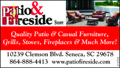 Quality Patio & Casual Furniture, Grills, Stoves, Fireplaces & Much More!    www.patiofire... | Patio and Fireside Store - Seneca, SC #georgia #HartwellGA #shoplocal #localGA